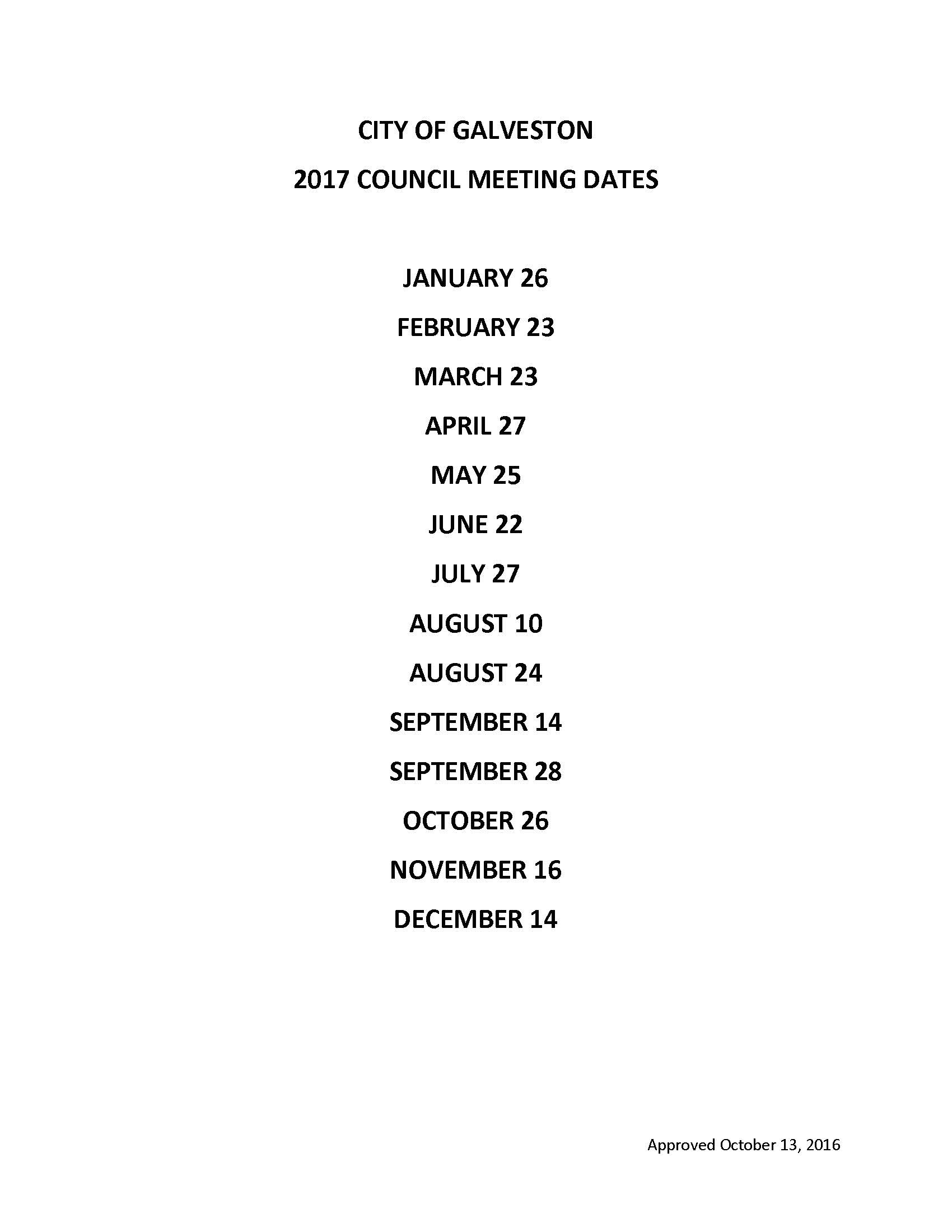 2017 MEETING DATES