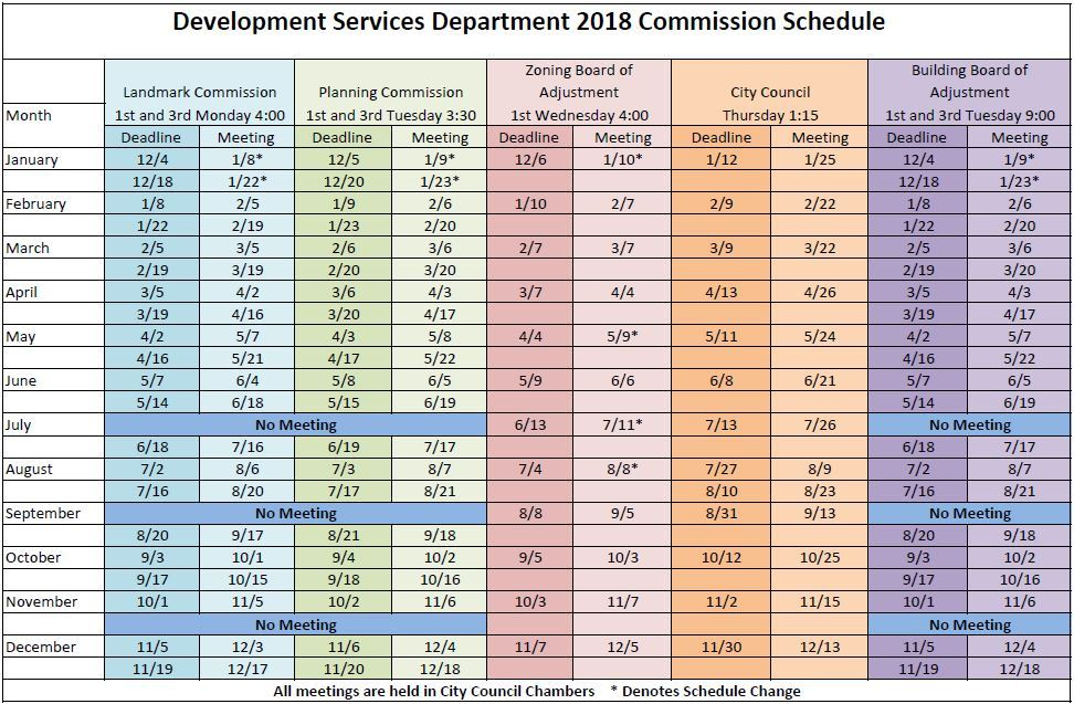 2018 Commission Schedule