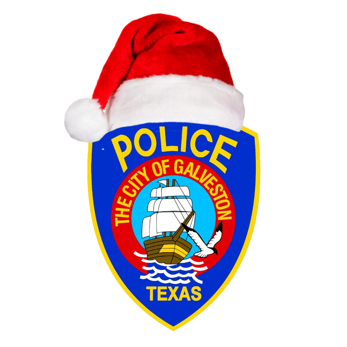 Galveston Police Department Patch Wearing a Santa Hat