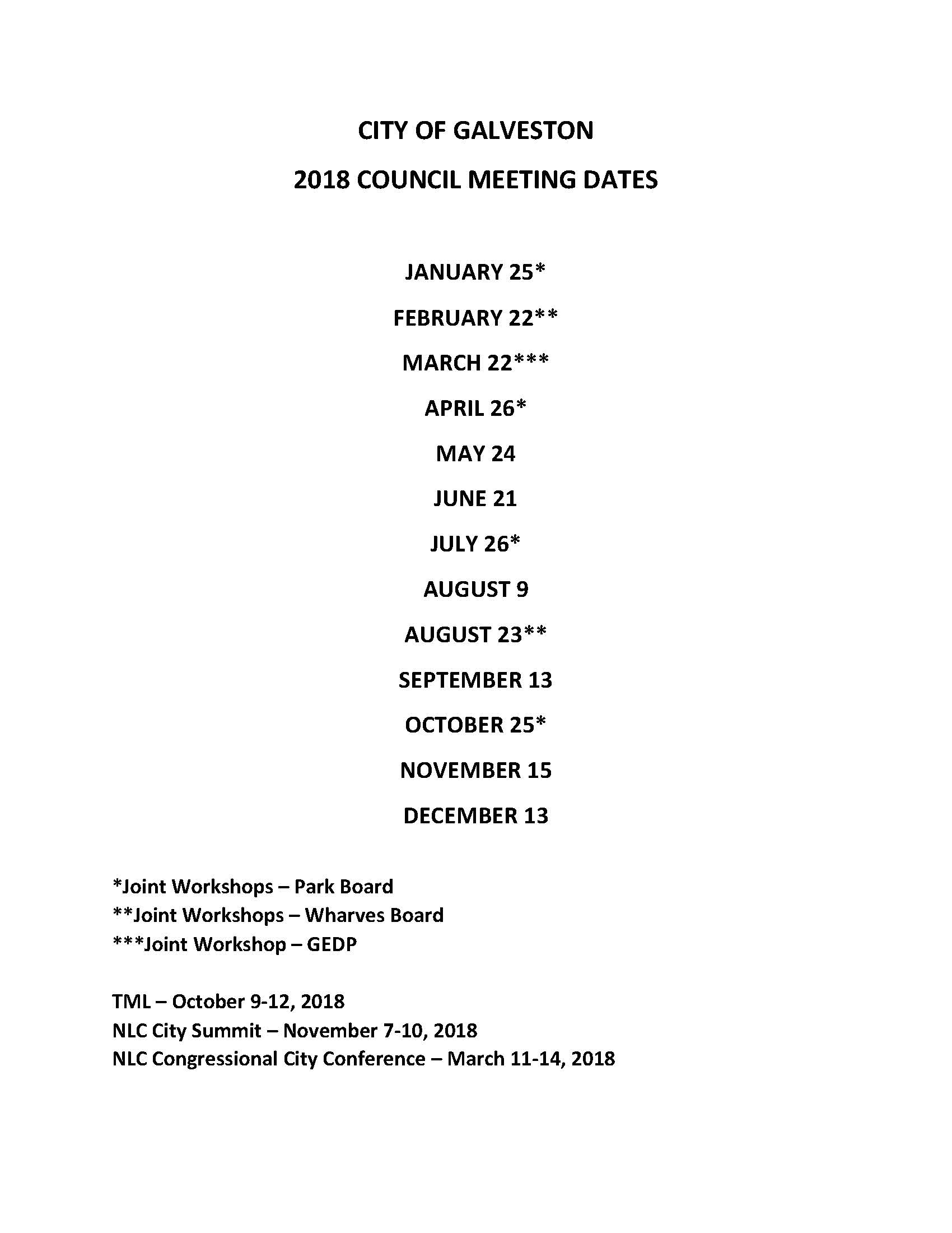 2018 MEETING DATES