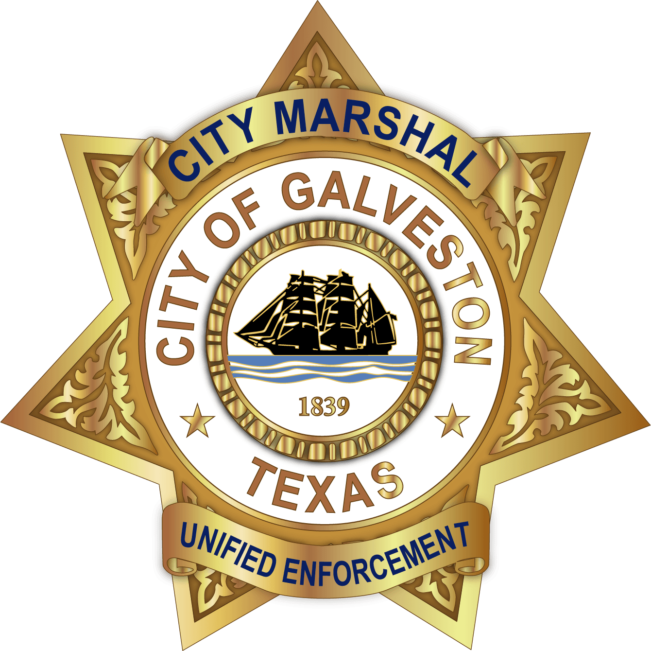 C-130823 Galveston City Marshals-Badge 2 TX Texas AR