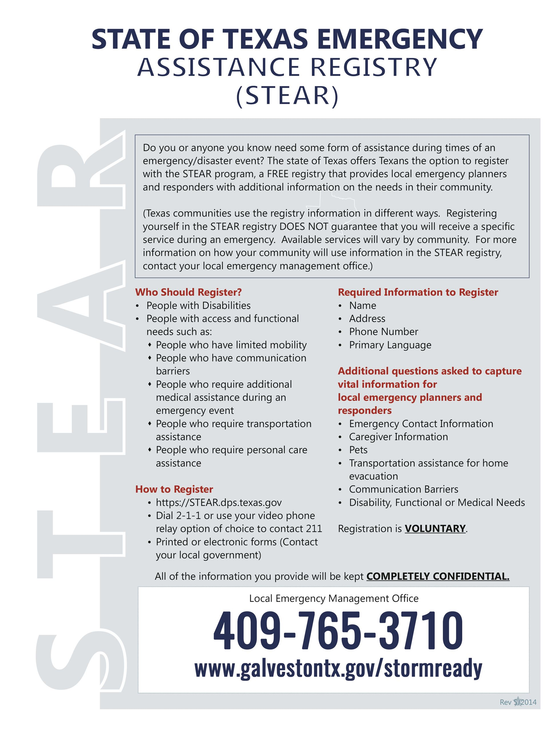 State of Texas Emergency Assistance Registry Flyer