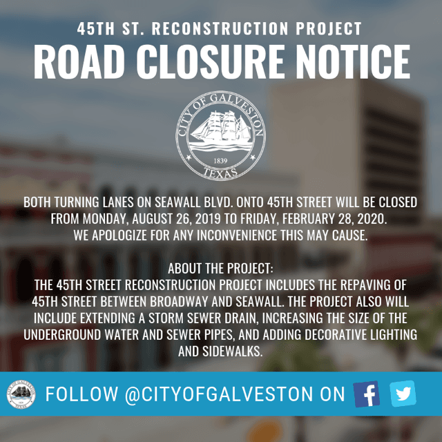 45thst turning lane closure