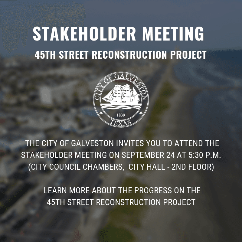 A flyer advertising the time and date of the 45th Street project update meeting