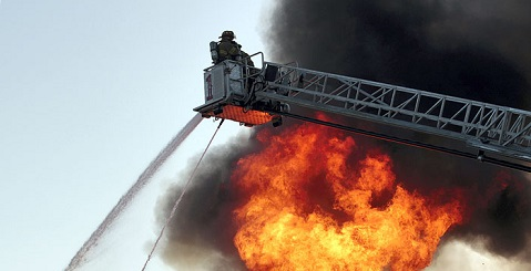 Ladder truck at fire
